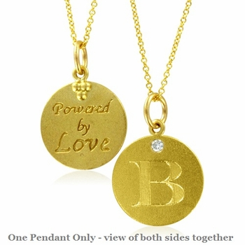 Initial Necklace, Letter B Diamond Pendant with 18k Yellow Gold Chain Necklace