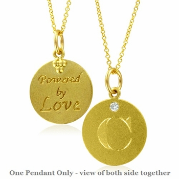 Initial Necklace, Letter C Diamond Pendant with 18k Yellow Gold Chain Necklace