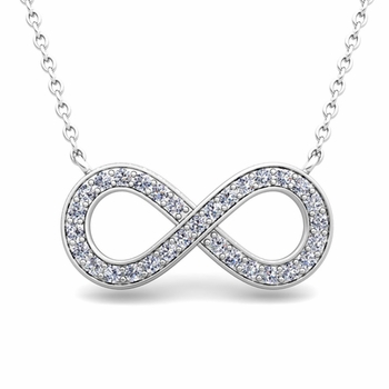 Classic Diamond Necklace in 14k Gold Infinity Pendant