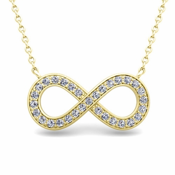 Classic Diamond Necklace in 18k Gold Infinity Pendant