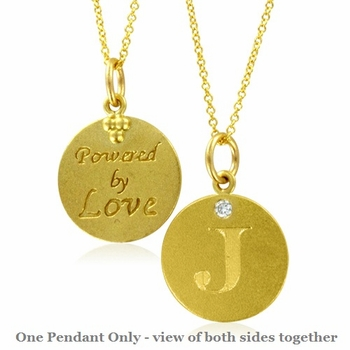 Initial Necklace, Letter J Diamond Pendant with 18k Yellow Gold Chain Necklace