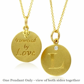 Initial Necklace, Letter L Diamond Pendant with 18k Yellow Gold Chain Necklace