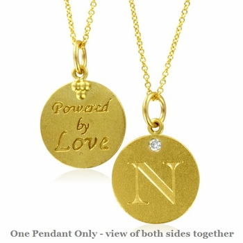 Initial Necklace, Letter N Diamond Pendant with 18k Yellow Gold Chain Necklace