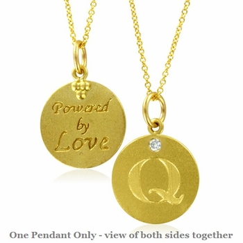 Initial Necklace, Letter Q Diamond Pendant with 18k Yellow Gold Chain Necklace