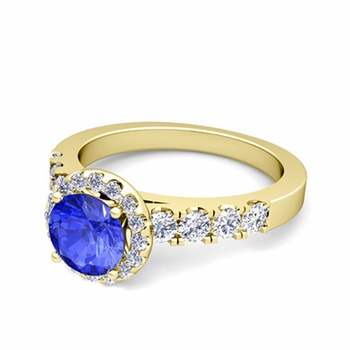 Brilliant Pave Set Diamond and Ceylon Sapphire Halo Engagement Ring in 18k Gold, 7mm