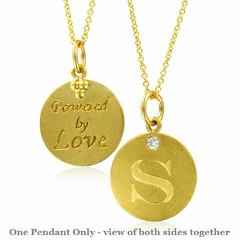 Initial Necklace, Letter S Diamond Pendant with 18k Yellow Gold Chain Necklace