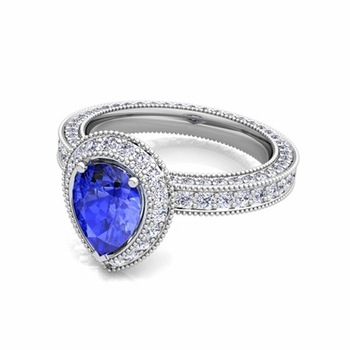 Milgrain Pear Shaped Ceylon Sapphire and Diamond Engagement Ring in 14k Gold, 8x6mm