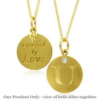 Initial Necklace, Letter U Diamond Pendant with 18k Yellow Gold Chain Necklace