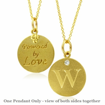 Initial Necklace, Letter W Diamond Pendant with 18k Yellow Gold Chain Necklace