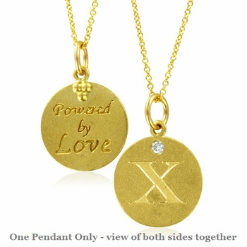 Initial Necklace, Letter X Diamond Pendant with 18k Yellow Gold Chain Necklace