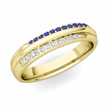 Brilliant Pave Diamond and Sapphire Wedding Ring in 18k Gold, 3.5mm