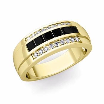 Princess Cut Black and White Diamond Mens Wedding Band in 18k Gold, 8mm