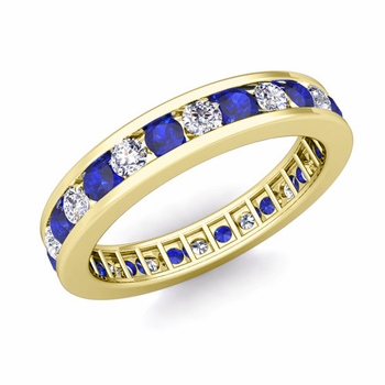 Channel Set Diamond and Sapphire Eternity Band in 18k Gold