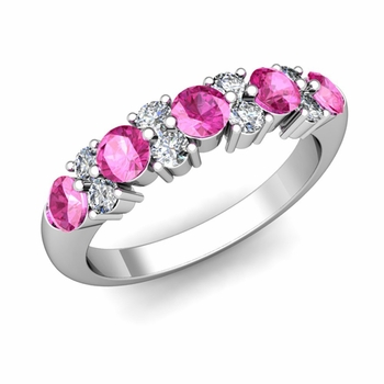 Garland Diamond and Pink Sapphire Wedding Ring in 14k Gold