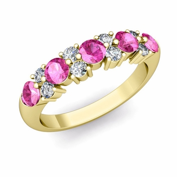 Garland Diamond and Pink Sapphire Wedding Ring in 18k Gold