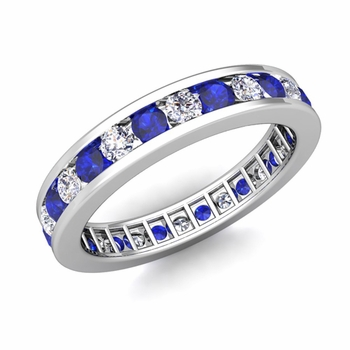 Channel Set Diamond and Sapphire Eternity Band in Platinum