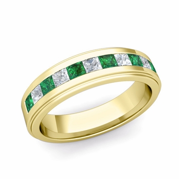 Channel Set Princess Cut Diamond and Emerald Mens Wedding Band in 18k Gold, 5.5mm