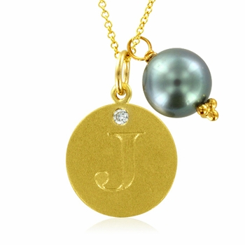 Initial Necklace, Letter J Diamond Pendant with a Pearl Charm in 18k Yellow Gold