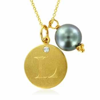 Initial Necklace, Letter L Diamond Pendant with a Pearl Charm in 18k Yellow Gold