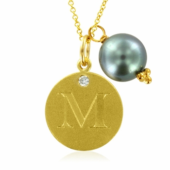 Initial Necklace, Letter M Diamond Pendant with a Pearl Charm in 18k Yellow Gold