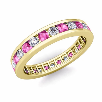 Channel Set Diamond and Pink Sapphire Eternity Band in 18k Gold