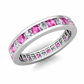 Channel Set Diamond and Pink Sapphire Eternity Band in Platinum