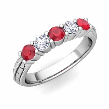 Milgrain Ruby and Diamond Wedding Band in 14k Gold 5 Stone Ring, 3mm