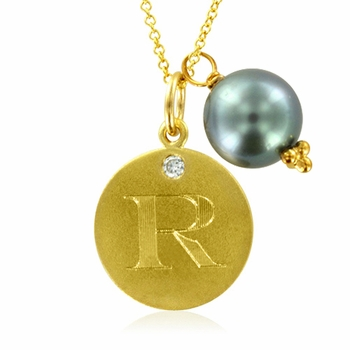 Initial Necklace, Letter R Diamond Pendant with a Pearl Charm in 18k Yellow Gold