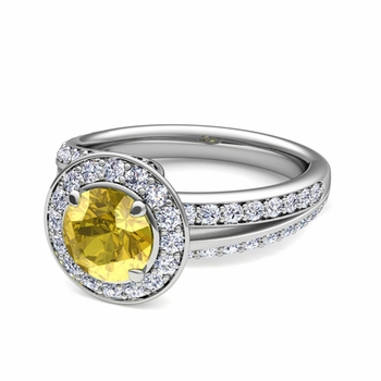 Wave Diamond and Yellow Sapphire Halo Engagement Ring in Platinum, 7mm