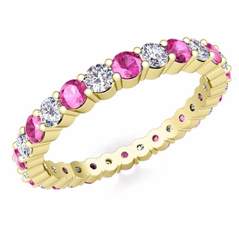 Pave Diamond and Pink Sapphire Eternity Band in 18k Gold