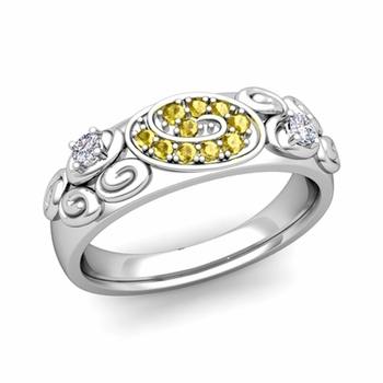 Swirl Diamond and Yellow Sapphire Wedding Ring Band in Platinum, 5.5mm