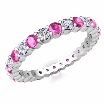 Pave Diamond and Pink Sapphire Eternity Band in Platinum