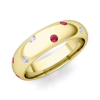 Scattered Ruby and Diamond Wedding Eternity Band in 18k Gold, 5mm