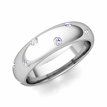 Scattered Diamond Wedding Eternity Band in 14k Gold, 5mm
