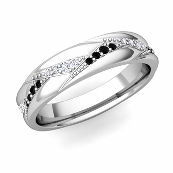 Wave Wedding Band in 14k Gold Black and White Diamond Ring, 5mm
