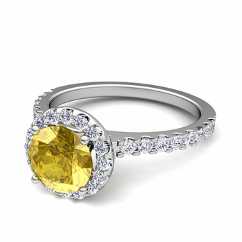 Petite Pave Set Diamond and Yellow Sapphire Halo Engagement Ring in 14k Gold, 7mm