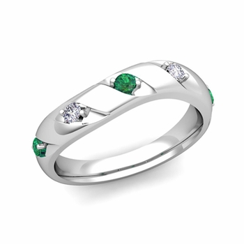 Curved Emerald and Diamond Wedding Ring Band in Platinum, 3.5mm
