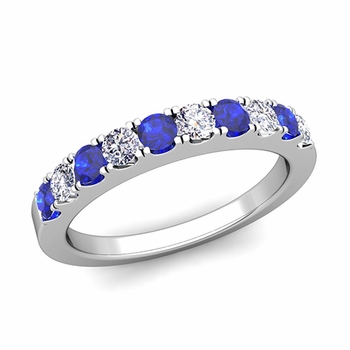 Brilliant Pave Diamond and Sapphire Wedding Ring Band in 14k Gold