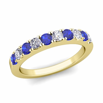 Brilliant Pave Diamond and Sapphire Wedding Ring Band in 18k Gold