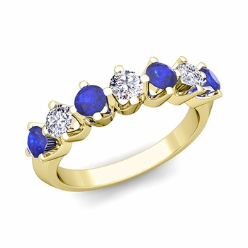 Crown Diamond and Sapphire Ring in 18k Gold Knife Edge Wedding Band