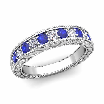 Vintage Inspired Diamond and Sapphire Wedding Ring Band in 14k Gold