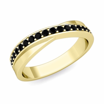 Infinity Black Diamond Wedding Ring Band in 18k Gold, 3.8mm