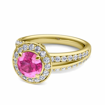 Wave Diamond and Pink Sapphire Halo Engagement Ring in 18k Gold, 7mm