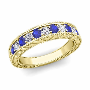Vintage Inspired Diamond and Sapphire Wedding Ring Band in 18k Gold