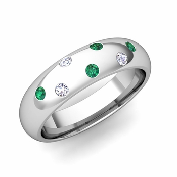 Comfort Fit Scattered Emerald and Diamond Wedding Band in Platinum, 5mm