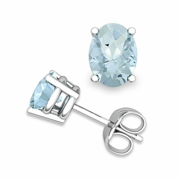 Natural Oval Aquamarine Stud Earrings in 14k Gold 4 Prong Studs, 7x5mm