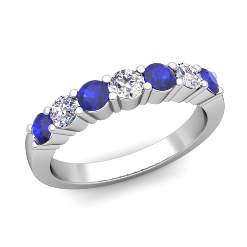 7 Stone Diamond Sapphire Wedding Anniversary Ring 14k