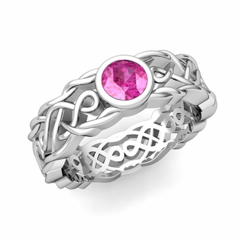 Solitaire Pink Sapphire Ring in Platinum Celtic Knot Wedding Band, 6.5mm