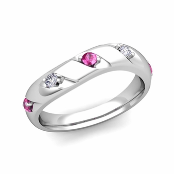Curved Pink Sapphire and Diamond Wedding Ring Band in Platinum, 3.5mm