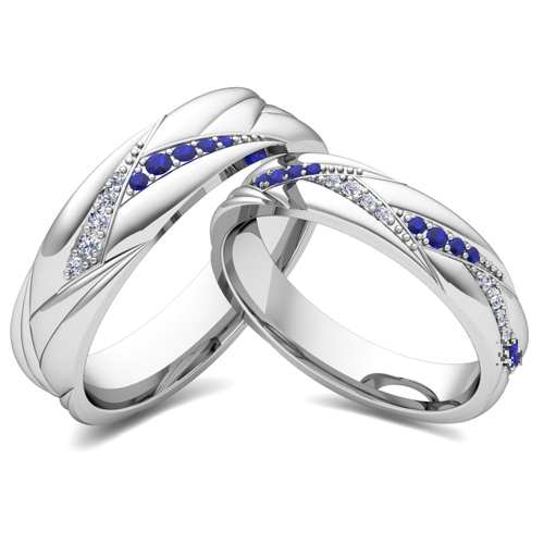 His Her Matching Wedding Ring Bands 14k Gold Sapphire Diamond Ring